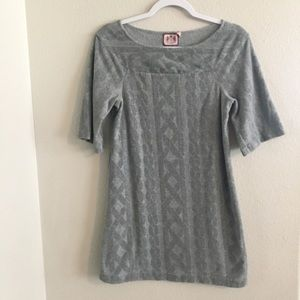 Juicy Couture grey quilted sweater dress. S small